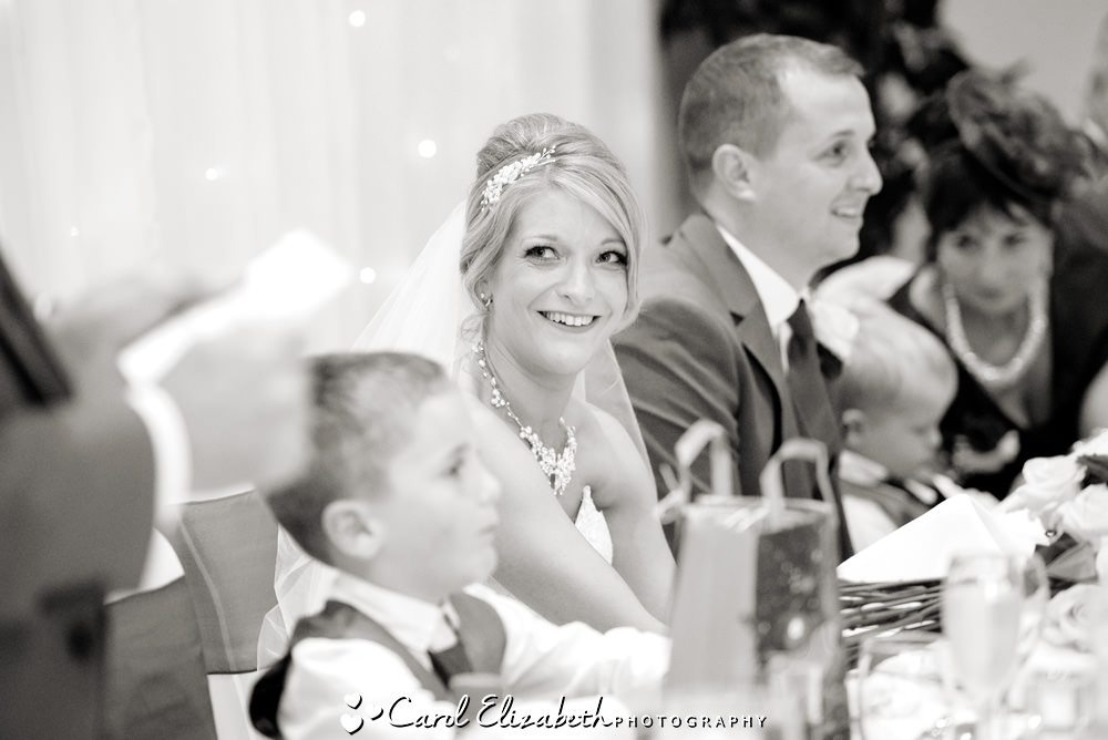 Bride looking at dad during speeches