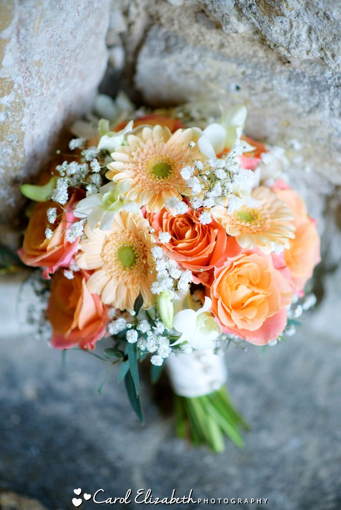 Bridal bouquet orange roses