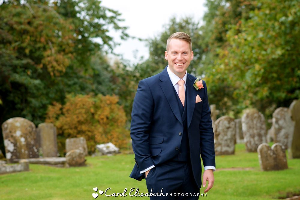 Groom before the ceremony at St Marys Church Uffington