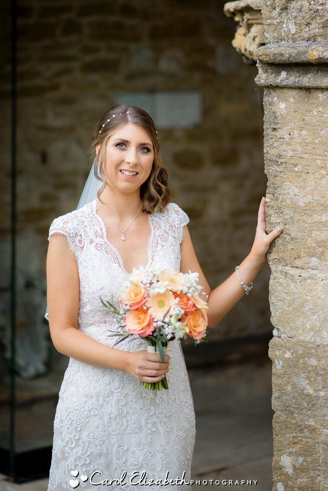 Oxfordshire wedding photography - bride outside church