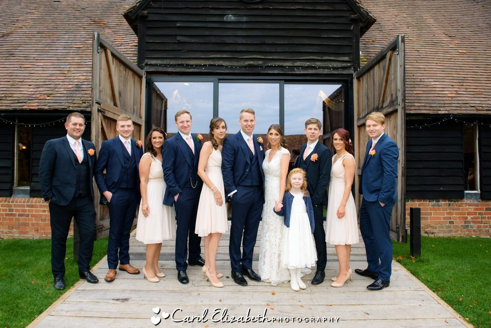 Wedding group photo of bridal party