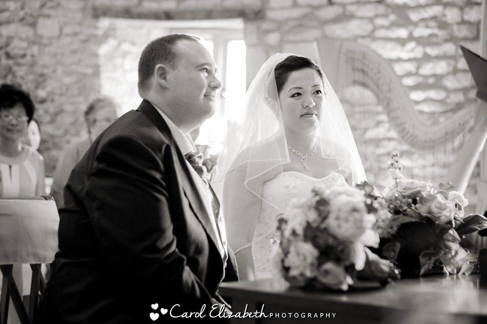 Black and white photo of wedding ceremony