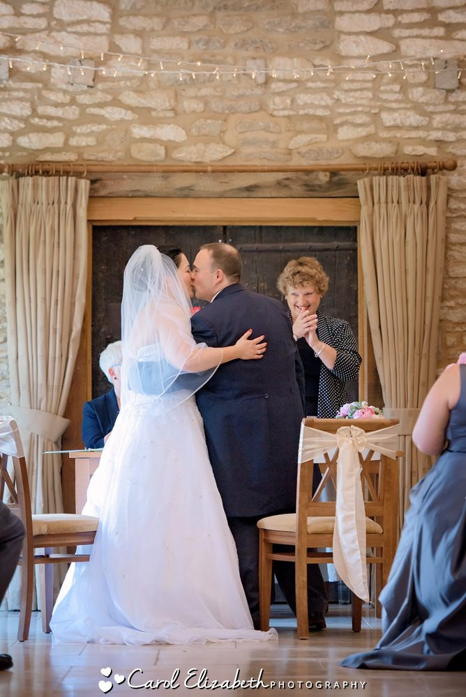 Wedding first kiss at Caswell House