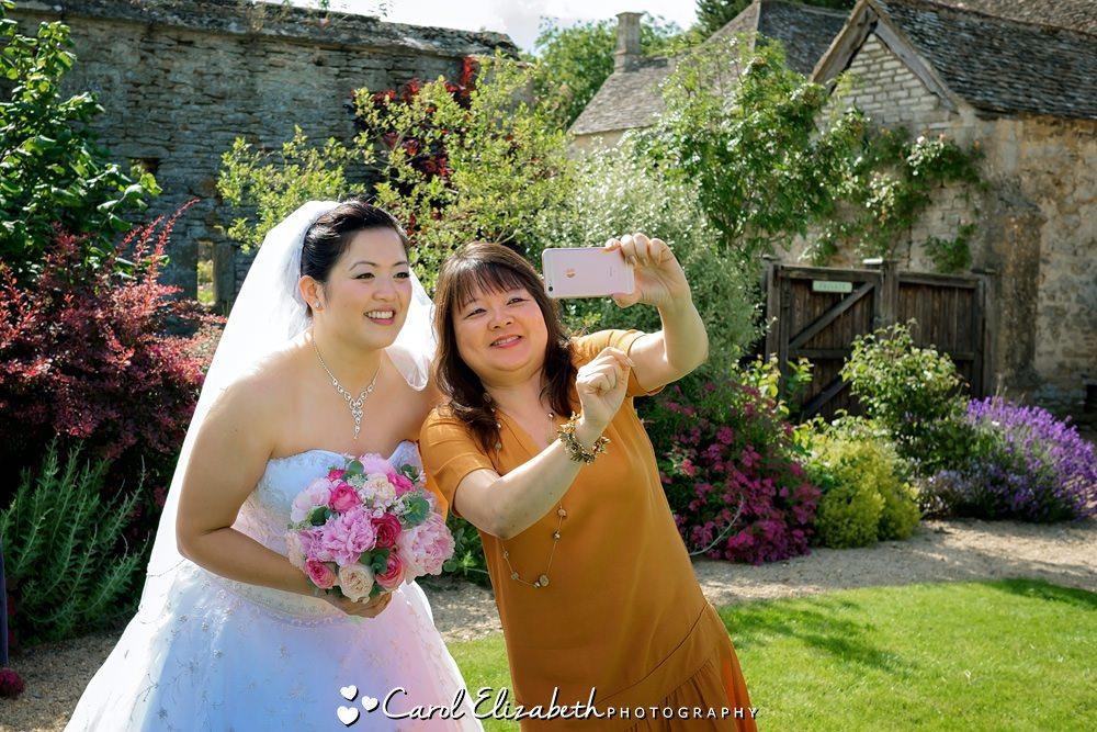 Bride posing for selfie