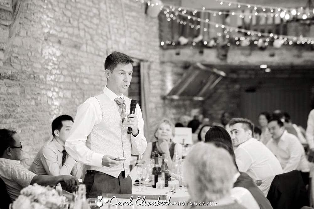 Best man giving speech at Caswell House wedding
