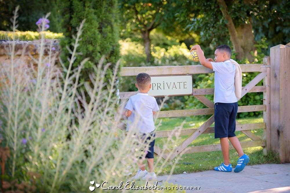 Children playing after wedding reception