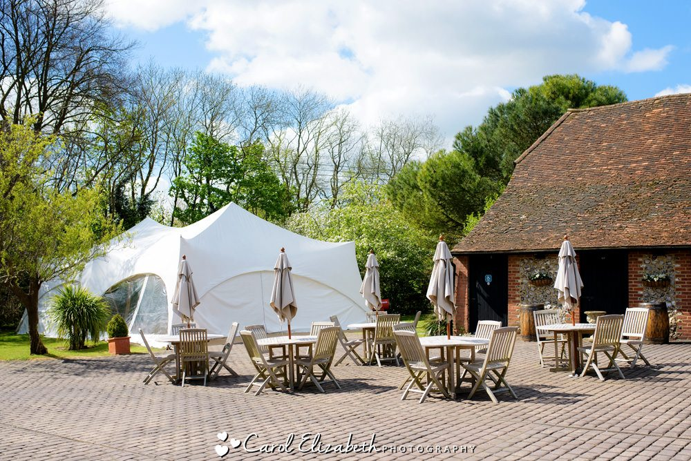 The summer marquee at Old Luxters wedding venue