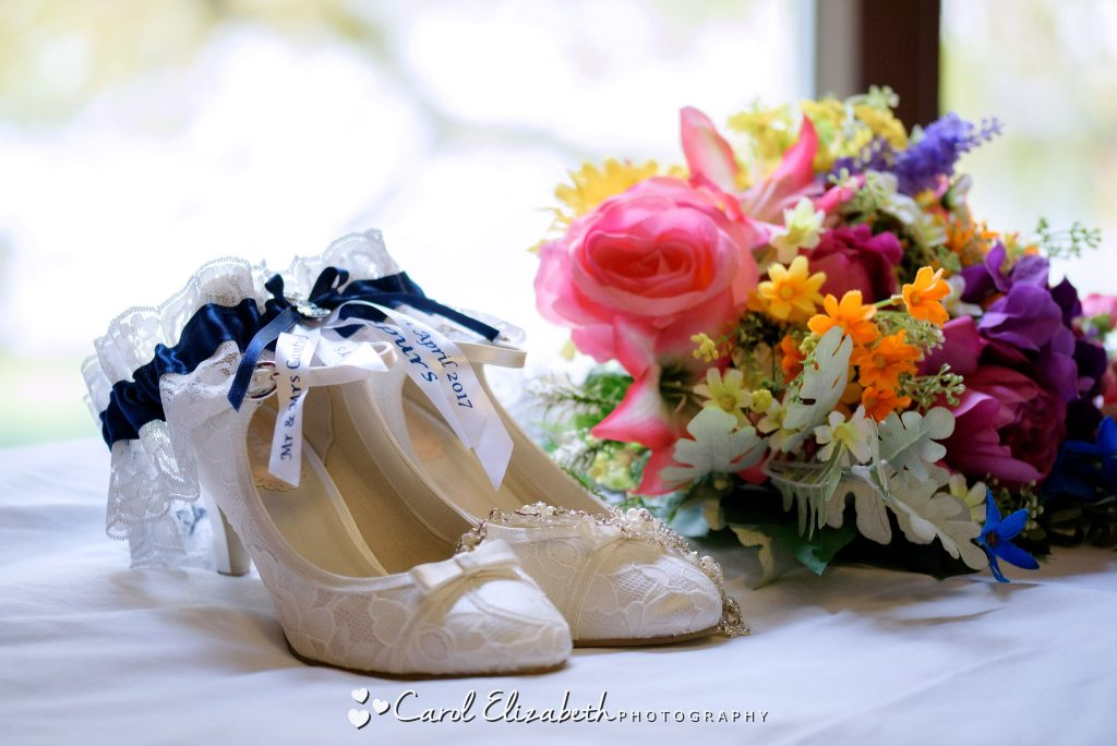Bridal shoes and flowers