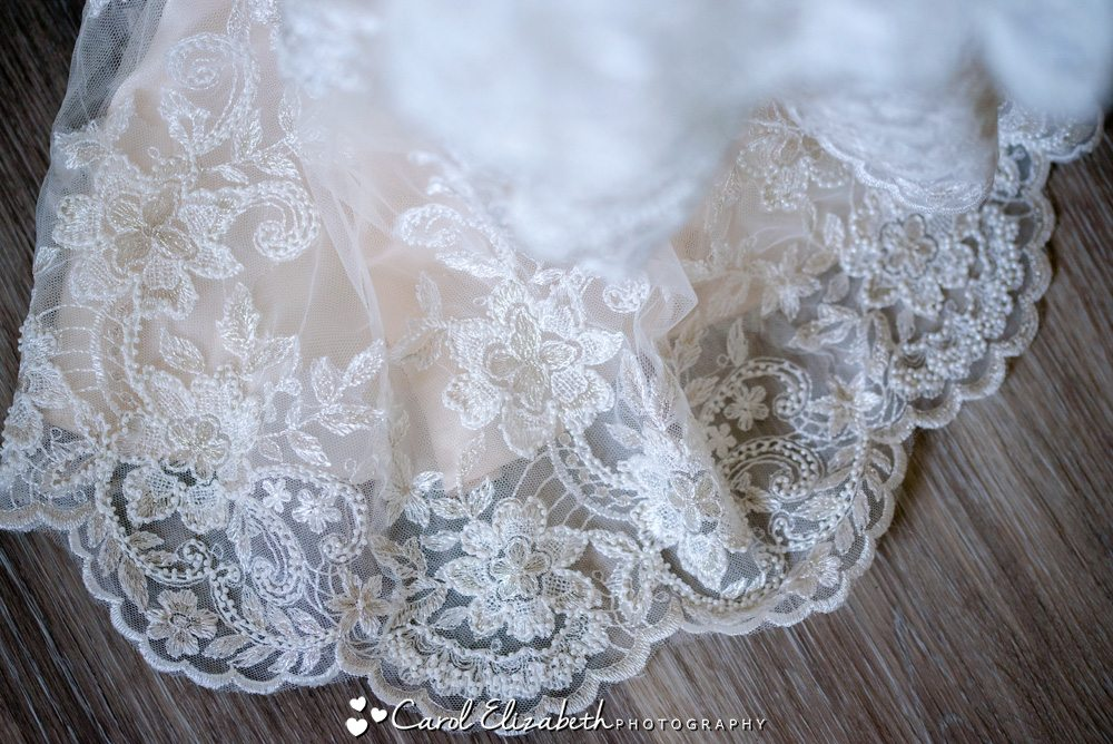Lace on Maggie Sottero wedding dress