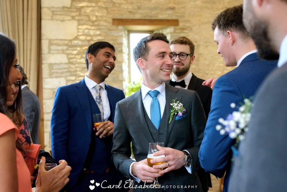 Groom chatting to his friends