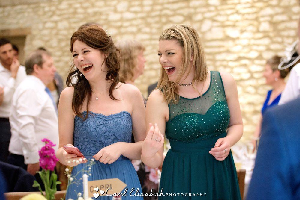 Bridesmaid and guest at wedding reception
