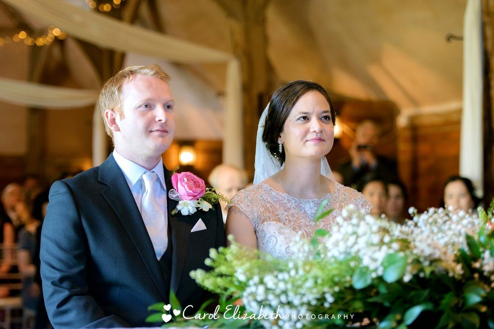 Civil wedding ceremony in a barn in Oxfordshire
