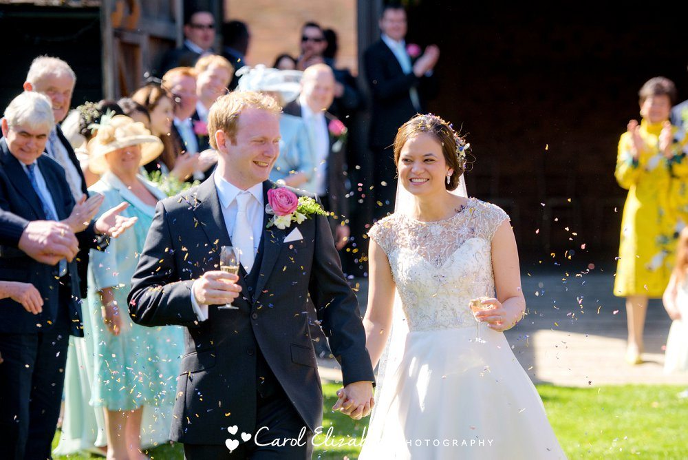 Wedding confetti at Lains Barn