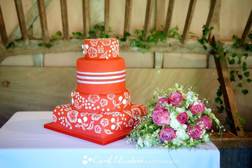 Wedding cake in Chinese red with Chinese writing