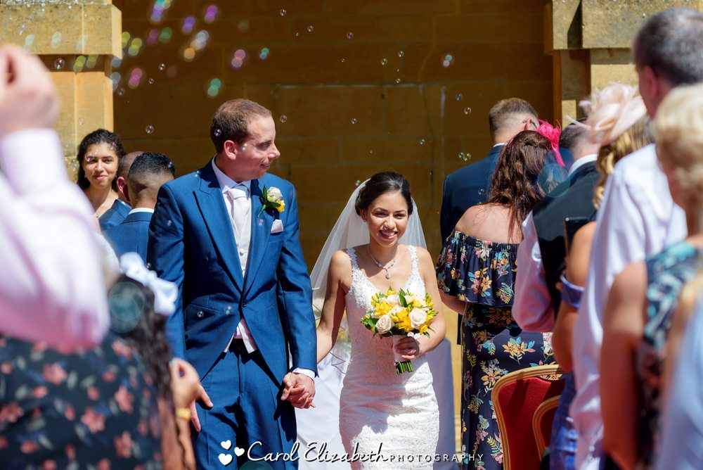 Wedding bubbles at Eynsham Hall