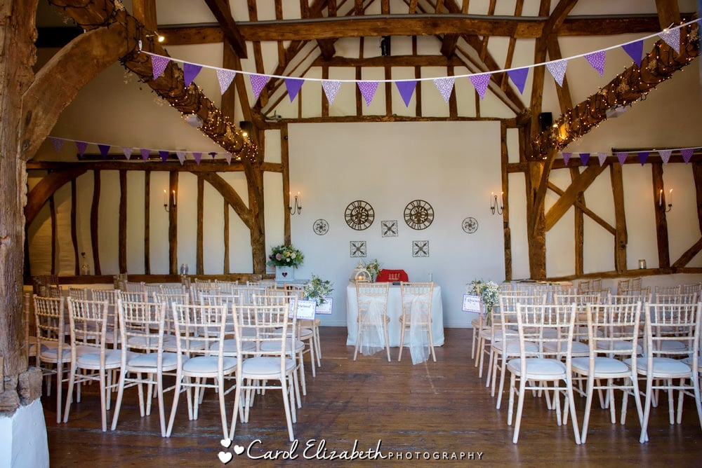 Old Luxters barn wedding ceremony