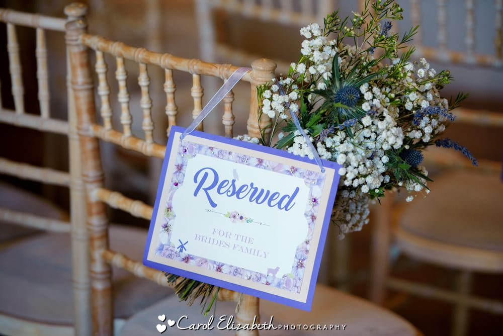 Close up of reserved sign