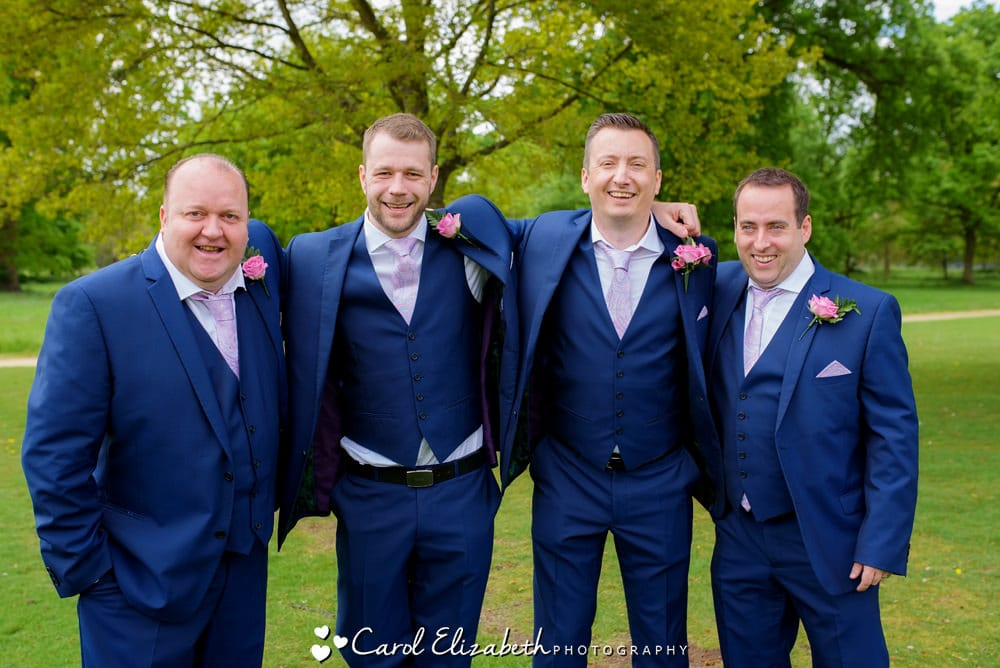 Groom and ushers with blue suits