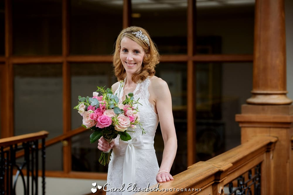 Bride with pink roses