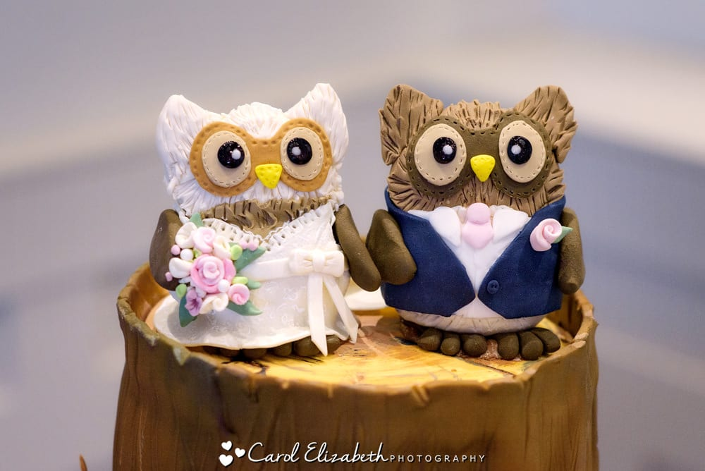 Owls wedding cake detail