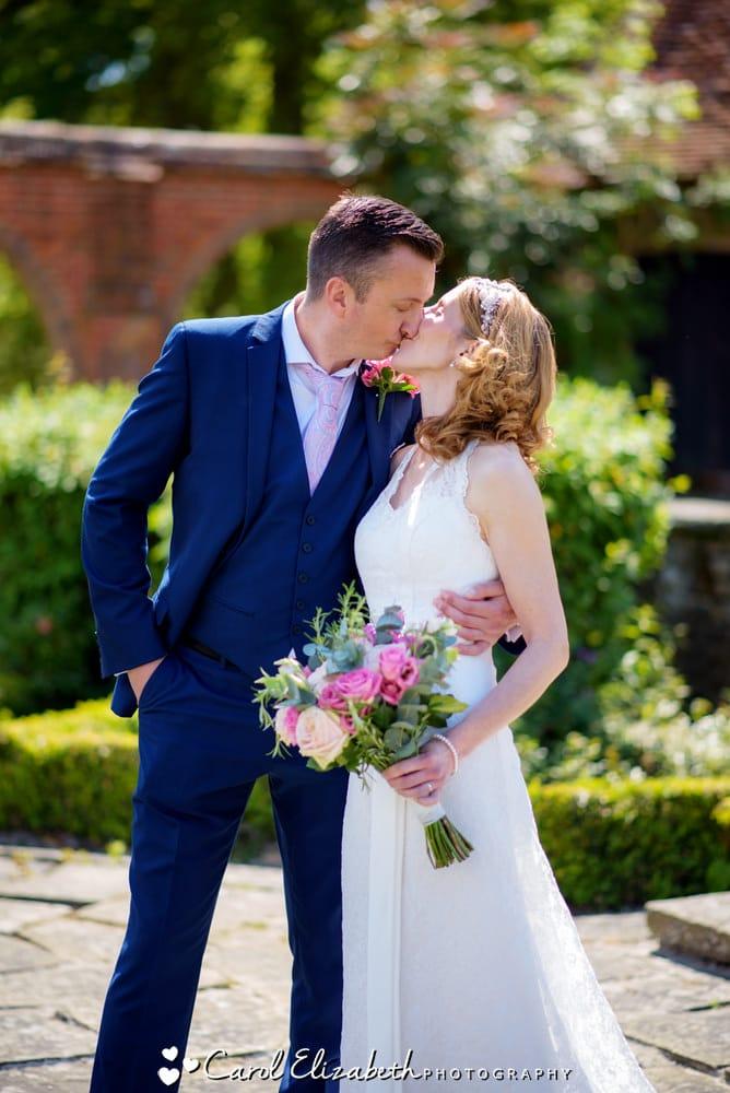 Wedding kiss at Milton Hill House