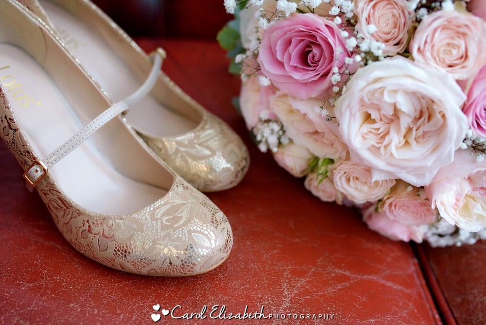 Shoes and flowers close up