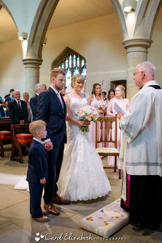 Church wedding ceremony with pageboy