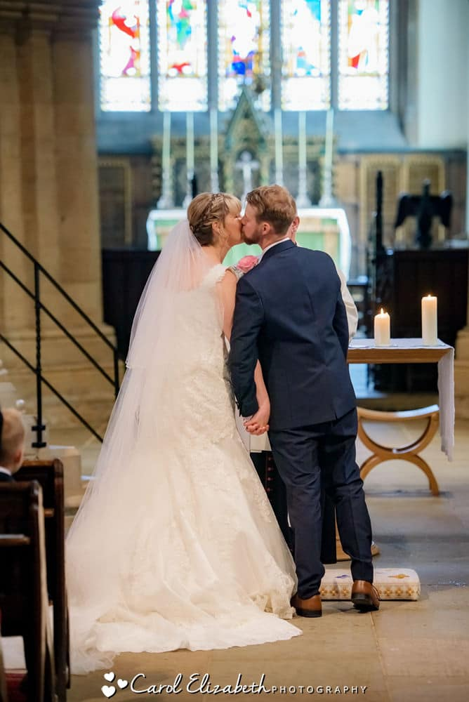 First kiss during church wedding