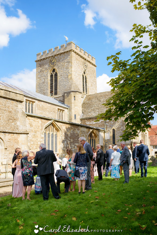 Wedding guests at Wantage church wedding
