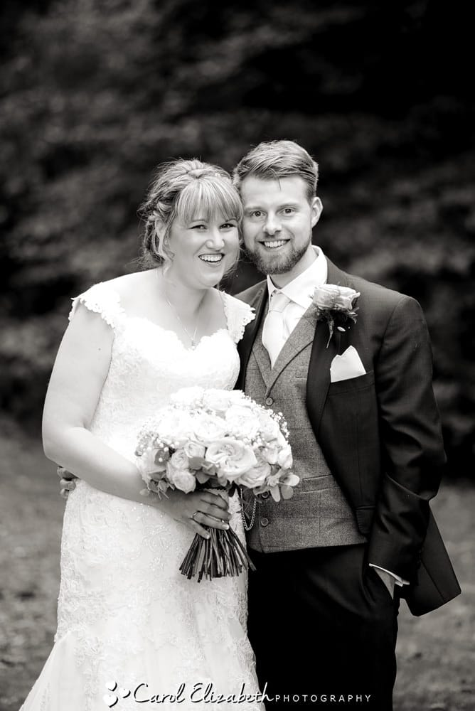 Relaxed photo of the bride and groom at Lains Barn