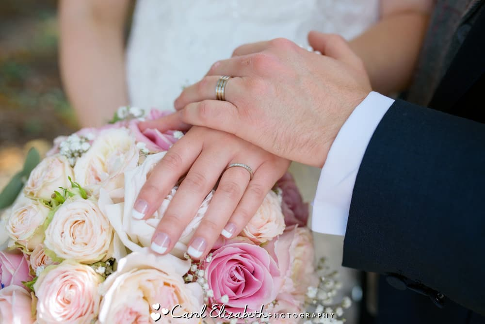 Close up of rings and flowers