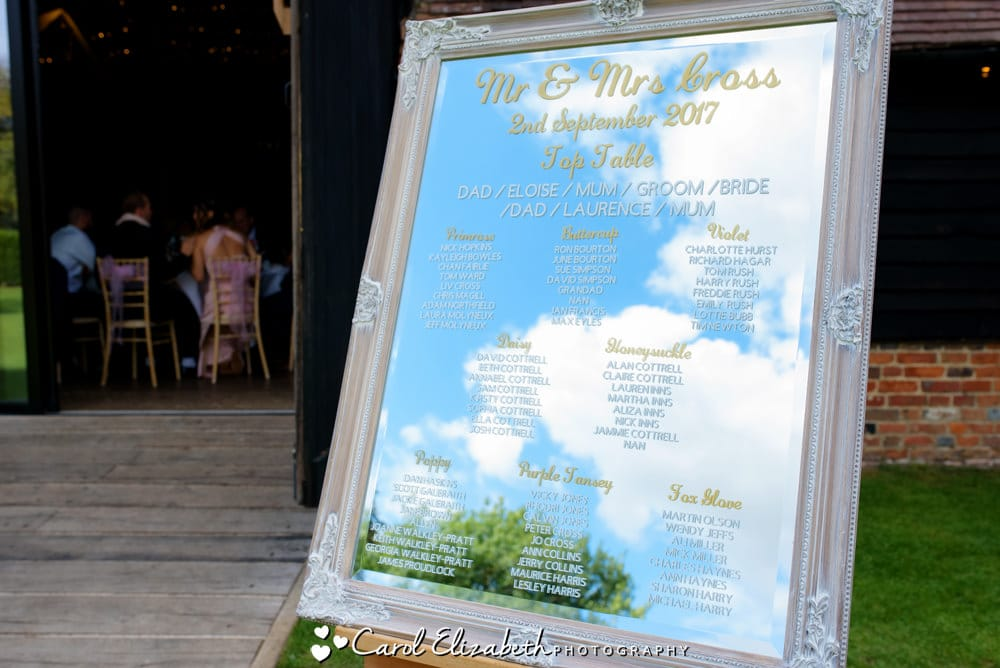 Wedding seating plan mirror