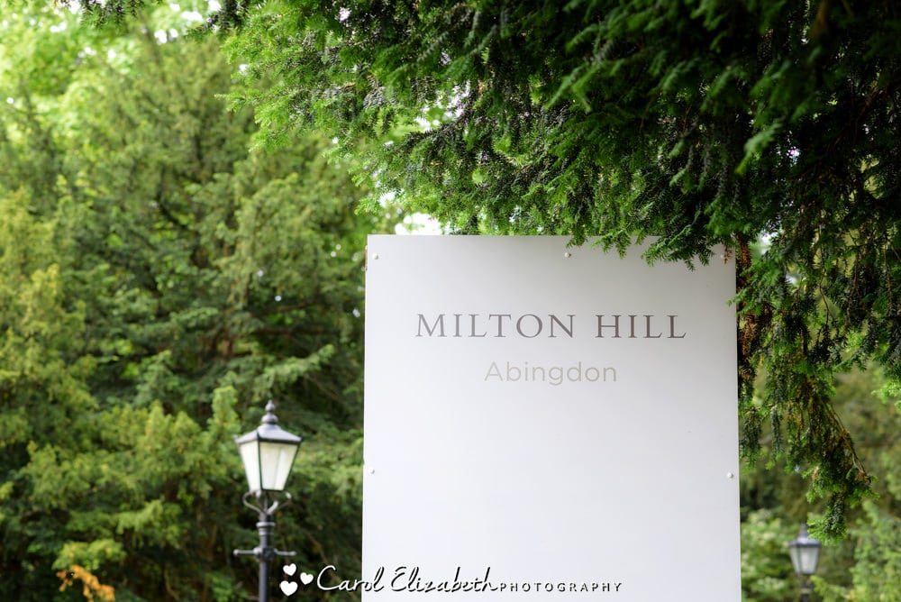 Milton Hill House Hotel welcome sign