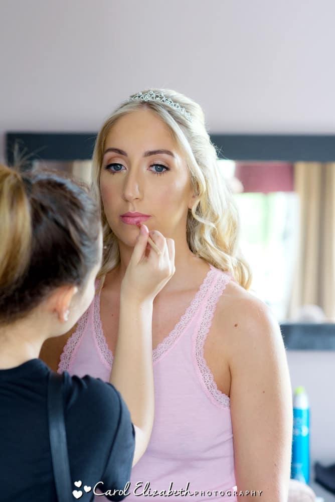 Bridal make up during bridal preparations