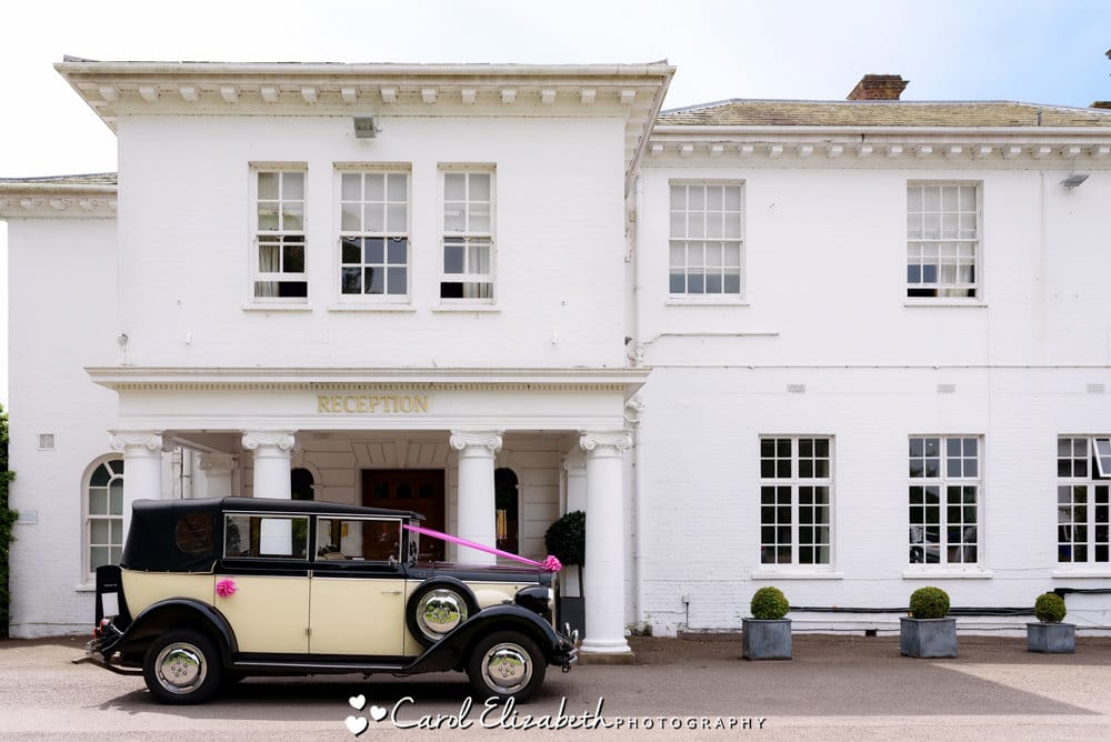 Vintage wedding car at Milton Hill House wedding venue