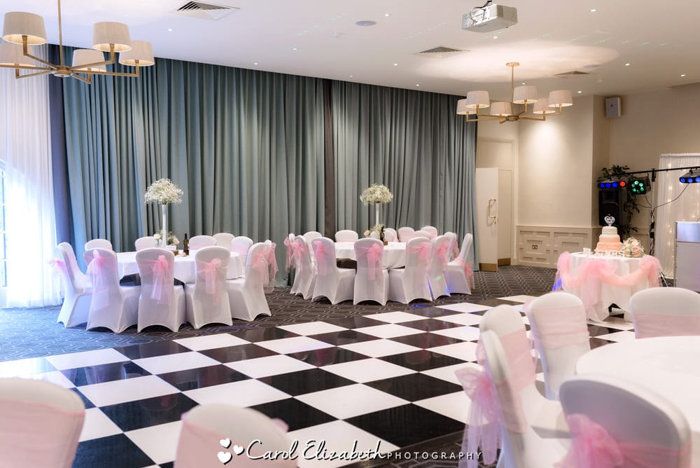 Milton Hill Hotel wedding reception room layout with dancefloor