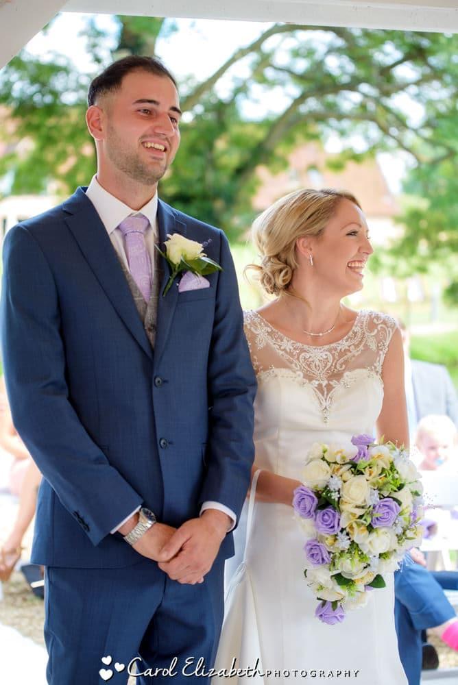 Happy couple during wedding ceremony