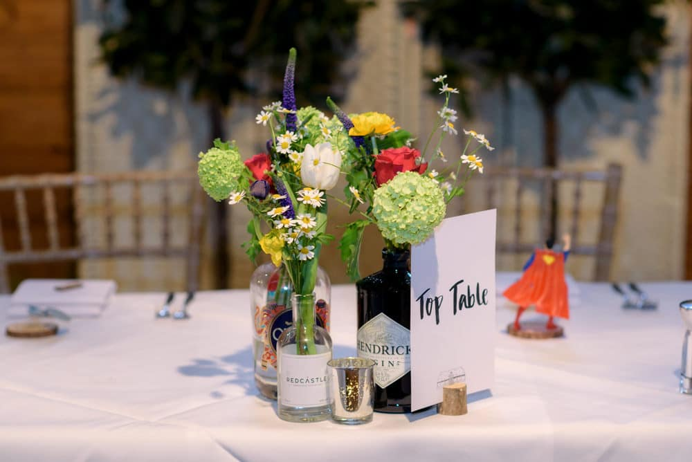 Wedding reception table details at Lains Barn