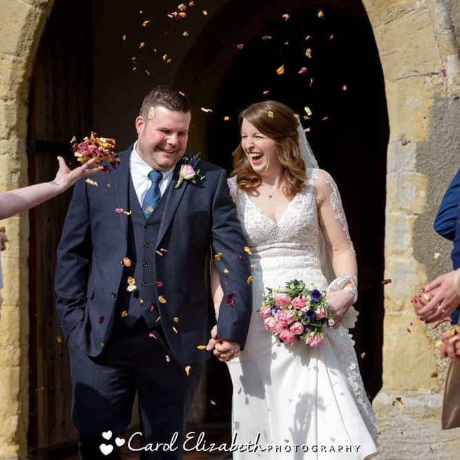 Wedding confetti photo at church