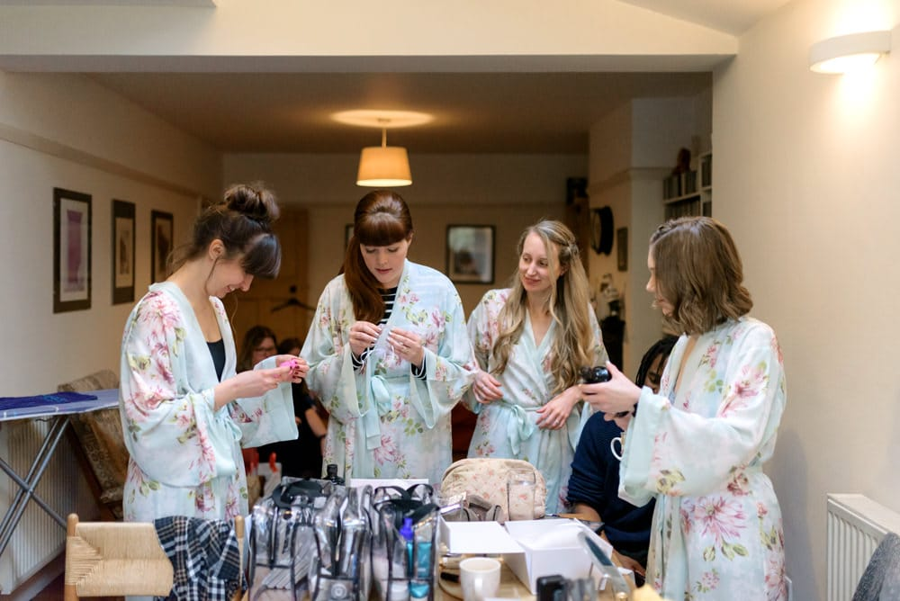Wedding preparations with bridesmaids