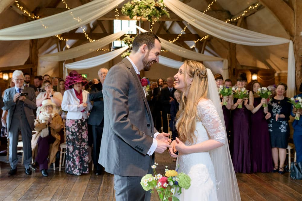 Lains Barn wedding ceremony in Oxfordshire