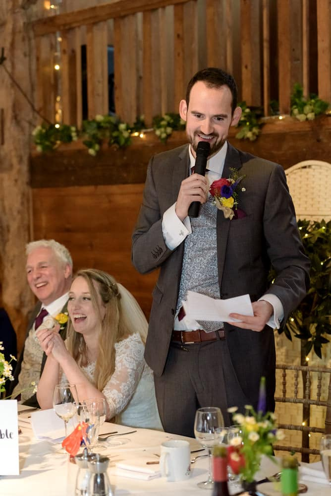 Groom speech at Lains Barn wedding