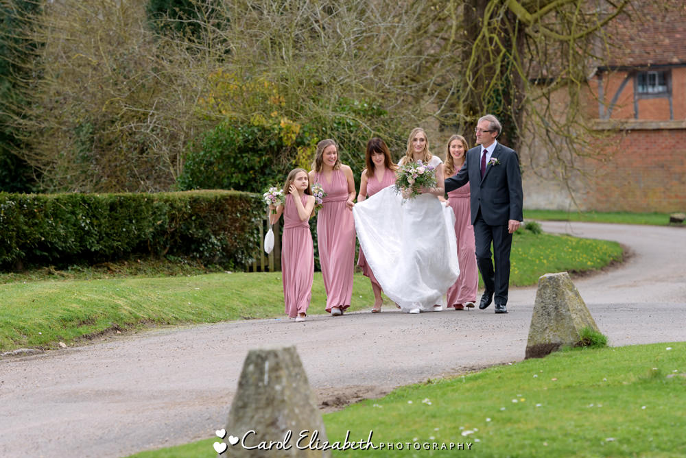 Bride and bridesmaids at Nether Winchendon House wedding