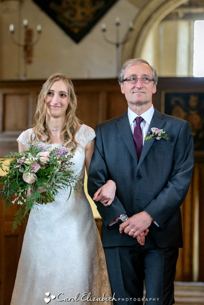 Nether Winchendon House church wedding photography - dad and bride