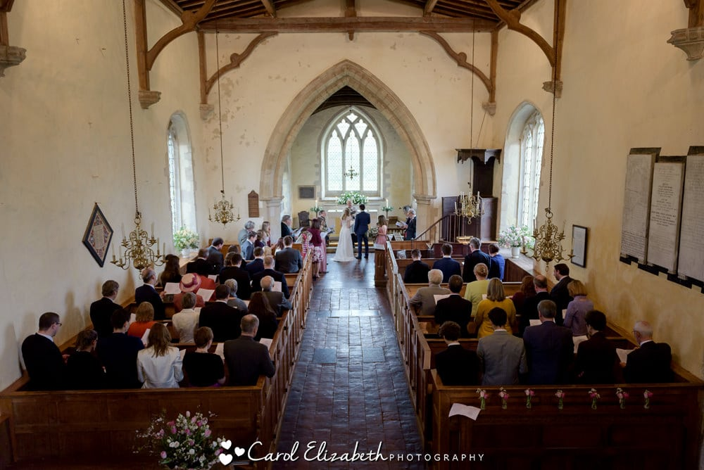 View from the gallery at Nether Winchendon Church wedding