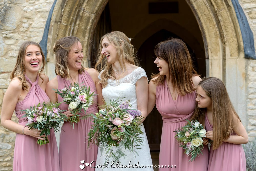 Bride and Bridesmaids at Nether Winchendon Church ceremony