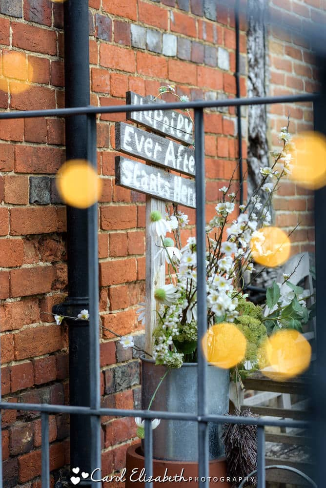 Wedding decorations outside Nether Winchendon House