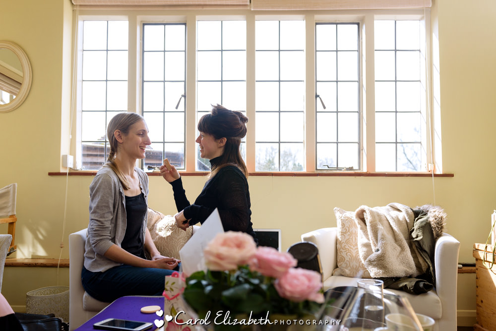 Bridal preparations at Nether Winchendon wedding venue