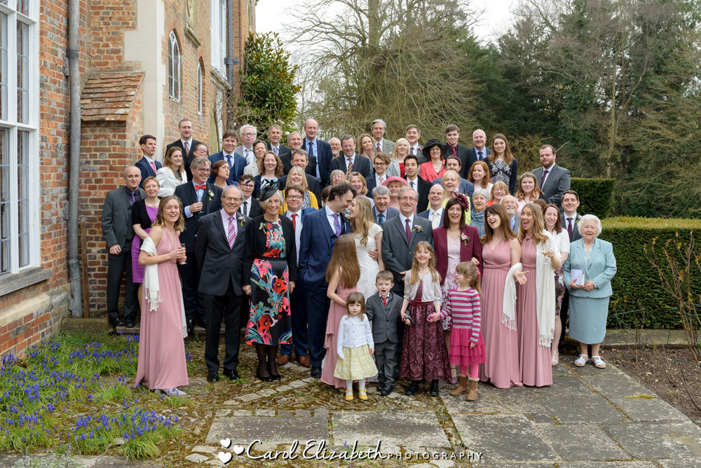 Whole group photo at Nether Winchendon House wedding