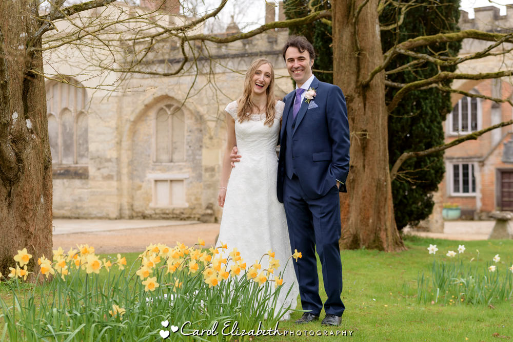 Spring weddings at Nether Winchendon House with daffodils